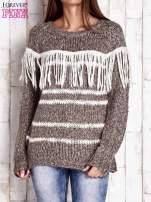 Brązowy wełniany sweter z frędzlami                                  zdj.                                  1