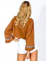 Camelowa zamszowa bluzka z szerokimi rękawami                                                                          zdj.                                                                         3