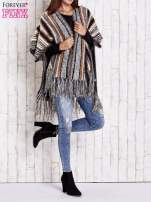 Camelowy sweter poncho z frędzlami                                   zdj.                                  8