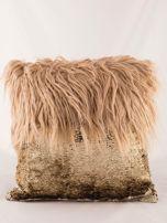 Ciemnobeżowa poduszka z długim włosem i cekinami                                  zdj.                                  4