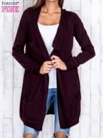 Ciemnobrązowy długi niezapinany sweter z kieszeniami