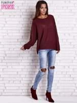Ciemnoczerwony sweter oversize z rozcięciami po bokach                                  zdj.                                  3