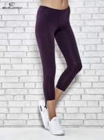 Ciemnofioletowe legginsy sportowe 7/8 z wiązaniem                                                                          zdj.                                                                         1