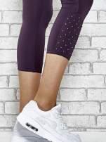 Ciemnofioletowe legginsy sportowe z dżetami na dole nogawki                                  zdj.                                  5