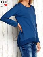 Ciemnoniebieska bluza z dekoltem w łódkę                                  zdj.                                  3