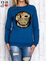Granatowa bluza z dwustronną naszywką z cekinów