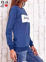 Ciemnoniebieska bluza z napisem AWESOME                                  zdj.                                  3