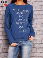 Ciemnoniebieska bluza z napisem PONIEDZIAŁEK POWINIEN BYĆ TYLKO DLA CHĘTNYCH                                  zdj.                                  1