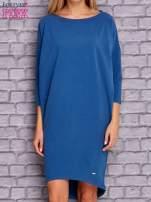Ciemnoniebieska gładka sukienka oversize                                  zdj.                                  1