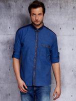 Ciemnoniebieska koszula męska w drobny wzór PLUS SIZE                                  zdj.                                  1