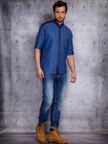 Ciemnoniebieska koszula męska z denimową listwą PLUS SIZE                                  zdj.                                  4
