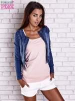 Ciemnoniebieska krótka kurtka jeansowa z przetarciami                                                                          zdj.                                                                         3