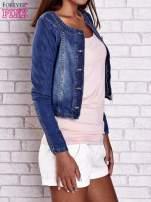 Ciemnoniebieska krótka kurtka jeansowa z przetarciami                                                                          zdj.                                                                         4