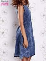 Ciemnoniebieska rozkloszowana dekatyzowana sukienka                                  zdj.                                  4