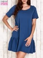 Ciemnoniebieska sukienka dresowa z falbanami z boku                                  zdj.                                  1