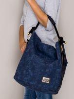 Ciemnoniebieska torba z bocznymi suwakami                                  zdj.                                  4
