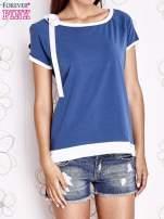 Ciemnoniebieski t-shirt z kokardą                                                                          zdj.                                                                         1