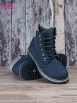 Ciemnoniebieskie buty trekkingowe damskie traperki ocieplane                                                                          zdj.                                                                         4