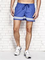 Ciemnoniebieskie męskie szorty kąpielowe w marynarskim stylu                                  zdj.                                  1
