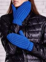 Ciemnoniebieskie proste rękawiczki na jeden palec z grubej wełny                                  zdj.                                  2