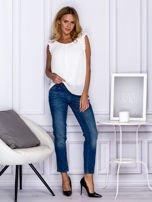 Ciemnoniebieskie spodnie regular jeans z dżetami w pasie                                  zdj.                                  3