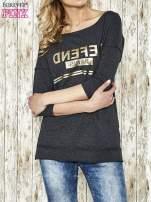 Ciemnoszara bluza ze złotym napisem i suwakiem                                  zdj.                                  1