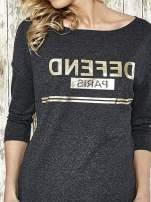 Ciemnoszara bluza ze złotym napisem i suwakiem                                  zdj.                                  4