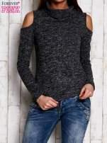 Ciemnoszara bluzka z wycięciami na ramionach                                  zdj.                                  1