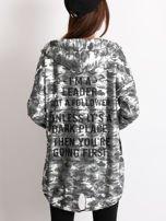 Ciemnoszara błyszcząca bluza z kapturem                                  zdj.                                  2