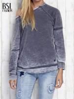 Ciemnoszara dekatyzowana bluza z surowym wykończeniem                                  zdj.                                  1