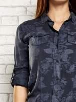 Ciemnoszara koszula z kwiatowym wzorem                                  zdj.                                  6