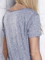 Ciemnoszary melanżowy t-shirt z okrągłym dekoltem