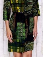 Ciemnozielona sukienka w kolorowe etniczne wzory                                  zdj.                                  5