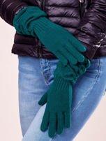 Ciemnozielone długie rękawiczki z marszczonym ściągaczem                                                                           zdj.                                                                         2
