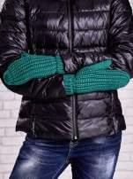 Ciemnozielone proste rękawiczki na jeden palec z grubej wełny