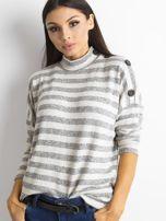 Cienki sweter w paski z półgolfem szary                                  zdj.                                  1