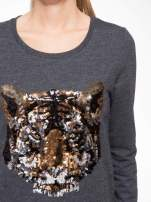 Czarna bluza z aplikacją tygrysa z cekinów                                  zdj.                                  5