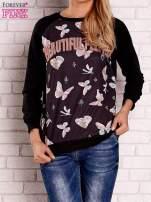 Czarna bluza z napisem BEAUTIFUL PELITER i motywem motyli                                  zdj.                                  1