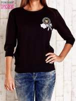 Czarna bluza z naszywkami i ściągaczami                                  zdj.                                  1