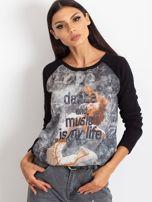 Czarna bluza z tanecznym nadrukiem                                  zdj.                                  1