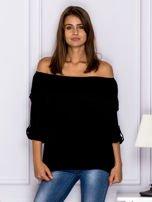 Czarna bluzka hiszpanka z koronkową lamówką                                  zdj.                                  1
