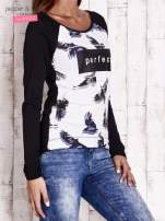 Czarna bluzka z napisem PERFECT                                  zdj.                                  3