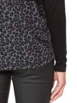 Czarna bluzka z panterkowym modułem i obniżaną linią ramion                                  zdj.                                  12