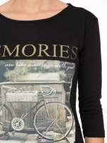 Czarna bluzka z złotym brokatowym napisem MEMORIES                                                                          zdj.                                                                         7