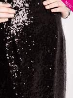 Czarna cekinowa sukienka z transparentną górą