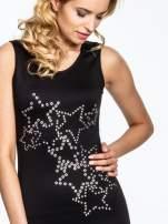 Czarna dopasowana sukienka z wzorem gwiazd                                  zdj.                                  5