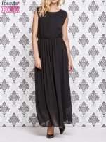 Czarna grecka sukienka maxi z koronką z tyłu