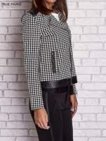 Czarna kurtka ramoneska w pepitkę ze skórzanymi wstawkami                                                                          zdj.                                                                         3