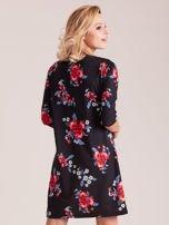Czarna kwiatowa sukienka damska                                  zdj.                                  2