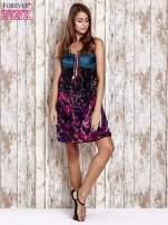 Fioletowa kwiatowa sukienka z kolorowymi troczkami                                                                          zdj.                                                                         6
